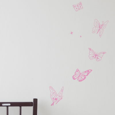 【SALE 65%OFF】MIMIlou(ミミ・ルゥ) ウォールステッカー LES PAPILLONS ROSE / BUTTERFLYS PINK (チョウ/ピンク)