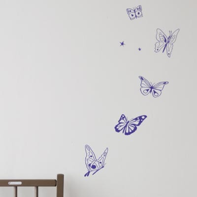 【SALE 65%OFF】MIMIlou(ミミ・ルゥ) ウォールステッカー LES PAPILLONS VIOLET / BUTTERFLYS PUR (チョウ/パープル)