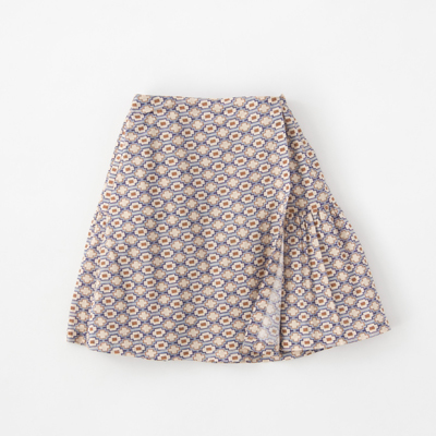 *CARAMEL 2018SS キッズ JUPIA SKIRT ジオメトリックプリント ラップ風スカート(S18BL ブルー)8A-10A