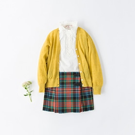 BONPOINT BLOUSE, SKIRT, BELLEROSE CARDIGAN
