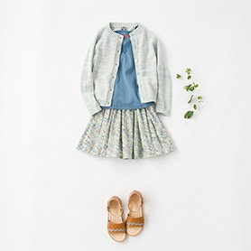 BONTON CARDIGAN, SKIRT, BLOUSE