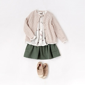 BONTON BLOUSE, SKIRT, SCARF, BENSIMON SHOES