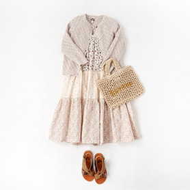 BONTON DRESS, CARDIGAN, BAG