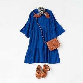 BONTON DRESS, SCARF, BAG, SANDALS