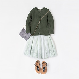 BONTON SKIRT, CARDIGAN, BAG, PEPE SANDALS