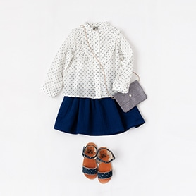 BONTON BLOUSE, SKIRT, BAG, SANDALS