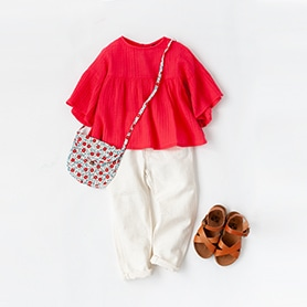 BONTON BLOUSE, BAG, SANDALS, BELLEROSE PANTS