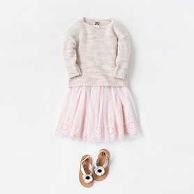 BONTON KNIT, SKIRT, PEPE SANDALS