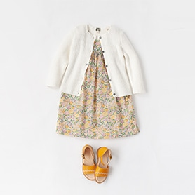 BONTON DRESS, CARDIGAN, NATHALIE VERLINDEN SANDALS