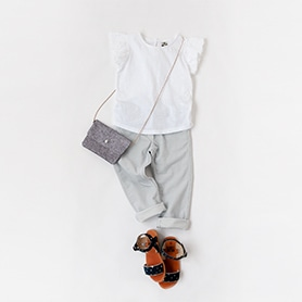 BONTON T-SHIRT, PANTS, BAG, SANDALS