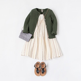 BONTON DRESS, CARDIGAN, SCARF, PEPE SANDALS