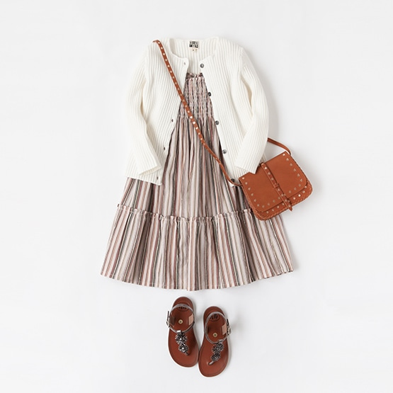BONTON DRESS, CARDIGAN, BAG, PEPE SANDALS