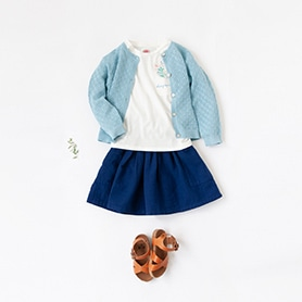 BONTON T-SHIRT, CARDIGAN, SKIRT, SANDALS