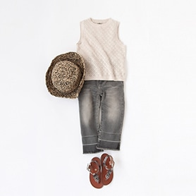 BONTON TOP, BELLEROSE PANTS, SANS-ARCIDET HAT, PEPE SANDALS