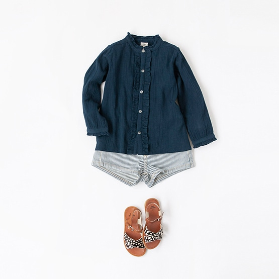 BONTON BLOUSE, BELLEROSE SHORT PANTS, PEPE SANDALS