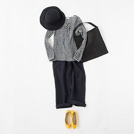 HARTFORD TOP, PANTS, HELEN KAMINSKI HAT, PORSELLI SHOES, DRAGON BAG