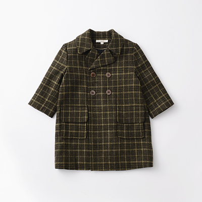 【SALE 50%OFF】CARAMEL 2020AW キッズ チェックロングコート(GREEN WOOL CHECK グリーン)8A-10A
