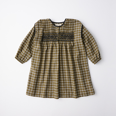 【SALE 50%OFF】CARAMEL 2020AW キッズ チェック刺繍ワンピース(YELLOW CHECK マスタード)8A-10A