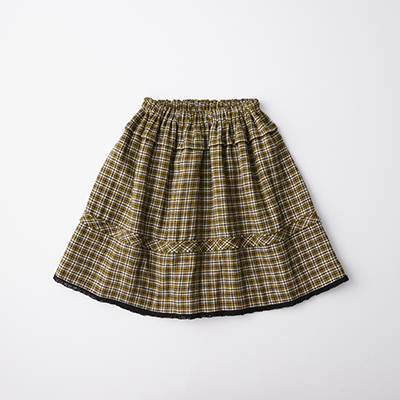 【SALE 50%OFF】CARAMEL 2020AW キッズ チェックスカート(YELLOW CHECK マスタード)4A-6A