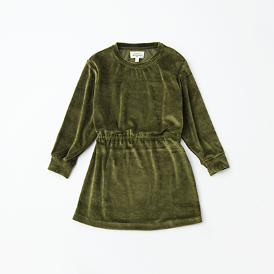 【SALE 50%OFF】HARTFORD 2020AW キッズ ベルベットワンピース(04 カーキ)6A-12A