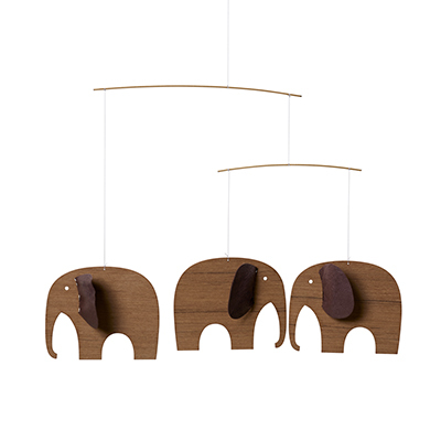 FLENSTED MOBILES 象 elephants 3, mini wood(brown ブラウン)