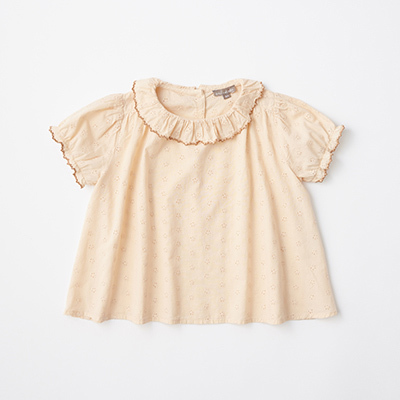 EMILE ET IDA 2021SS キッズ レースブラウス(ROSE BRODERIE ライトベージュ)8A-10A